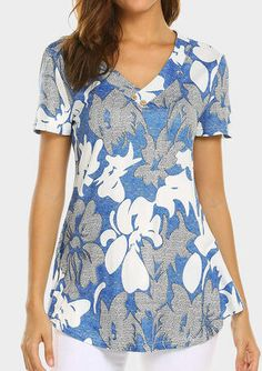 Sweetnight Women Floral Print V Neck Button Decor Peasant Summer Swing Tunic Tops Shirts Dress# Clothes# Dress# Fashion Brands# Shirts# Blouse# V Neck Blouse, Short Sleeve Blouse, Cute Summer Outfits, Spring Outfits, Tunic Shirt, Tunic Tops, Flower Shorts, Casual T Shirts, Types Of Sleeves