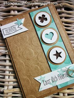 """stampin with fanny, pool party, choco chip,1"""" and 11/4 circle punchs, Kraft cardstock, itty-bitty punches."""