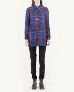 Engineered Garments FWK 19th Century Plaid BD Shirt in Dark Navy/Red/Blue - Mohawk General Store