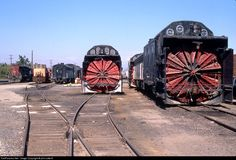 SPMW 221 Southern Pacific Railroad Rotary snow plow at Roseville, California by phil cotterill ---  » Roseville yard  » Roseville, California, USA » September 15, 1998