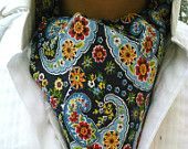 Countryside Cravat - Blue Paisley Red Yellow Steampunk, Goth Tie-