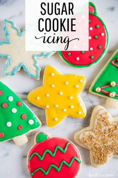 christmas cookie frosting Sugar Cookie Icing - Takes only 4 ingredients and comes together in just 5 minutes! Youll have perfectly decorated sugar cookies in no time! Best Sugar Cookies, Christmas Sugar Cookies, Christmas Sweets, Sugar Cookies Recipe, Holiday Cookies, Christmas Baking, Holiday Treats, Sugar Cookie Frosting Recipe That Hardens, Hardening Sugar Cookie Icing