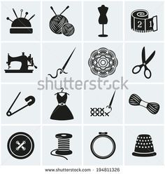 Set of sewing and needlework icons. Collection of design elements. Vector illustration. - stock vector