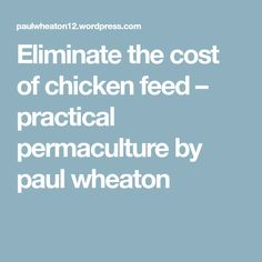 Eliminate the cost of chicken feed – practical permaculture by paul wheaton