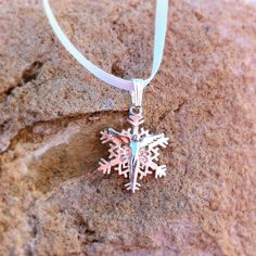 Snow Angel with little white ribbon instead of a chain. Sweet. #angel #jewelry #snowflake #silver #lavaggi #necklace #inspirational #ribbon