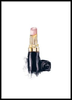 Print with an illustration of Chanel lipstick. Fashion posters and prints