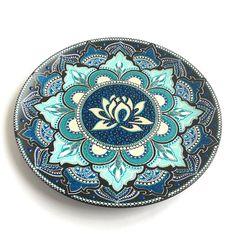 Ceramic decorative plate Wall plate Wall decor Lotus flower Yoga symbol