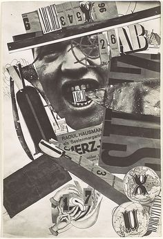Raoul Hausmann  (Austrian, Vienna 1886–1971 Limoges) | ABCD, 1920s | As a founder of the Berlin incarnation of Dada, Hausmann searched for a vital, disruptive, and realistic art, piecing together scraps of word and image—the detritus of the real world—to make symbolic and explosive new pictures. ABCD is a self-portrait.
