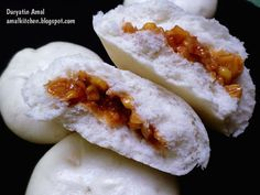 Amal's Kitchen : Simple & Easy Recipes: Bakpao Isi Ayam Jagung : Super Empuk !!! :) Asian Desserts, Asian Recipes, Easy Recipes, Steamed Bao Buns, Toddler Menu, Bread Recipes, Cooking Recipes, Brie Bites, Bakery Cakes