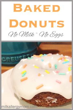 Delicious donuts that are dairy-free and egg-free. My allergy son prefers to them any store-bought donut. See recipe! Dairy Free Donuts, Dairy Free Eggs, Dairy Free Recipes For Kids, Egg Free Recipes, Dairy Recipes, Eggless Recipes, Donut Recipes, Eggless Donut Recipe, Cookie Recipes