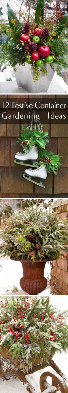 Apartment balcony diy container gardening 52 Ideas for 2019 – Winter Balcony Ideas – Balcony Decor Ideas Winter Planter, Outdoor Pots, Outdoor Living, Winter Garden, Winter Balcony, Christmas Garden, Christmas Trees, Xmas, Outdoor Christmas Decorations