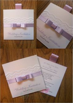 Lilac Wallet Wedding Invitation with lace www.jenshandcraftedstationery.co.uk www.facebook.com/jenshandcraftedstationery