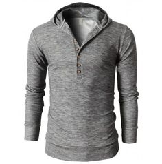 Mens Clothes Slim Fit Hoodie Henley Neck T-Shirts With Button Pointed