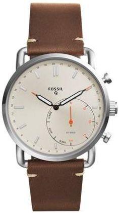 Fossil Q Men Commuter Dark Brown Leather Strap Hybrid Smart Watch Smartwatch, Messenger Bag Backpack, Skeleton Watches, Rfid Wallet, Mode Online, Dark Brown Leather, Watches For Men, Men's Watches, Fossil Watches