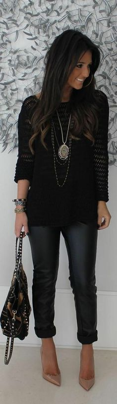 This Pin was discovered by Roger Saunders. Discover (and save!) your own Pins on Pinterest. | See more about black outfits, black sweaters and leather pants. http://www.epicee.com
