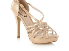 Gold High Heel Diamant Strap Platform Sandals - High heel shoes - Shoes & boots - Women -