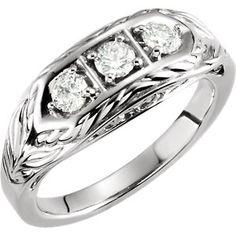 14kt White 1/2 CTW Diamond 3-Stone Ring