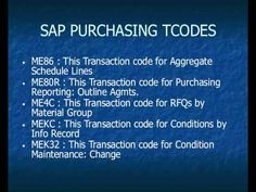SAP Purchasing transactions https://www.youtube.com/watch?v=0Vw82XGHKW4 #sap #purchasing