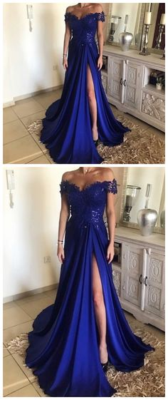 High Slit Evening Dress, A Line Appliques Prom Dress, Dark Blue Long Prom Dresses, Formal Evening Gown P0742 #promdresses #longpromdress #2018promdresses #fashionpromdresses #charmingpromdresses #2018newstyles #fashions #styles #hiprom #prom #royalblueprom #tulleprom