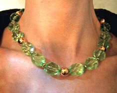 Green Lucite NAPIER Necklace Faceted Beads Chunky Vintage