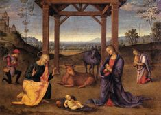 nativity.jpg (1389×1000)PERUGINO, Pietro Nativity c. 1504 Oil on panel, 34 x 46 cm Accademia Carrara, Bergamo