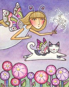 """Garden Fairy Anika"" by Susan Faye, Pacific Northwest // Garden Fairy Anika enjoys the company of her winged cat, Rikolo, in my fantasy watercolor painting. Surprise your favorite Garden Goddess or cat lover with the gift of original art-- or better yet, treat yourself!The art was originally drawn with pen and ink, then painted on... // Imagekind.com -- Buy stunning fine art prints, framed prints and canvas prints directly from independent working artists and photographers."