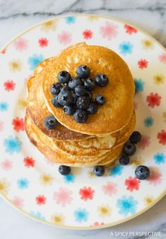 Low Carb Cloud Bread Pancakes (Ketogenic) - This healthy pancake recipe is low in carbohydrates, fat, and calories! An easy fit for most low carb diets.