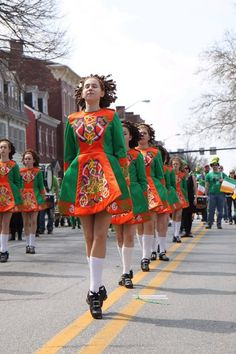 The students of McGinley School of Irish Dance in Lemoyne, PA, showcase their moves at the York St. Patrick's Day Parade, Harrisburg, PA.