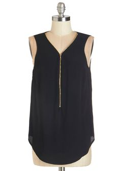 Affixed on You Top - Mid-length, Black, Solid, Exposed zipper, Urban, Sleeveless, V Neck