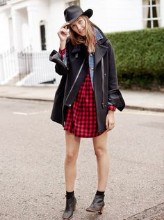 madewell flannel latitude shirtdress worn with the jean jacket, city grid coat, billie boot + madewell & biltmore® fedora.