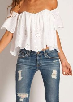 Cute white flowy top for summer.