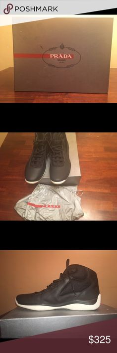 Men's Prada Punta Ala Hightop Sneakers Men's Prada Punta Ala Hightop Sneakers//Worn a couple of times//Vernice+Bike Nero+Nero//Comes with box and dust bag//Men's Size13 Prada Shoes Athletic Shoes