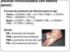 Adultos inmovilizados con edema(peso):Formula de predicción de Ramírez (peso en kg):Varón = x EB) + x. Edema, Formulas, Weights