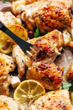 Greek Chicken + Potatoes (One Pan) | http://cafedelites.com