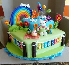 Hello Kitty birthday cake...could be adapted to a My Little Pony cake.