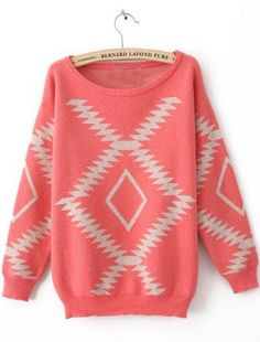 Pink Long Sleeve Geometric Print Pullovers Sweater pictures