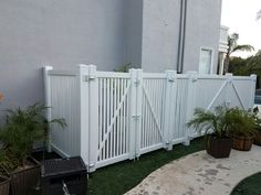 Check out this vinyl fence enclosure installed by Fence in Murrieta/Temecula Ca. Perfect way to hide your ugly pool equipment or A/C unit.