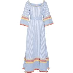 Gül Hürgel Fringed printed cotton and linen-blend maxi dress (2.646.655 IDR) ❤ liked on Polyvore featuring dresses, blue, knot dress, tiered maxi dress, colorful maxi dress, stripe dresses and maxi dresses