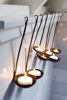 Antique ladle, tea light candles