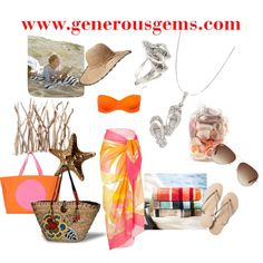 """Beach Days"" by generousgems on Polyvore  Our favorite Sandal Necklace and Ring.  #generousgems #sandals #flipflops #beach #summer #shopping #nautical # seatheme # jewelry # necklace #rings #sand #readingonthebeach"