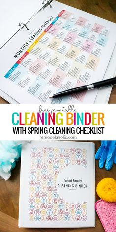 This DIY cleaning binder set of printables includes daily, weekly, and monthly cleaning calendars, plus a spring cleaning checklist and a kids chore chart so the whole family can contribute to a happy healthy home. #remodelaholic #freeprintable