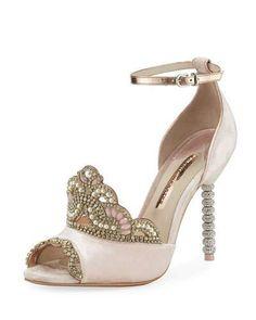 X3VNY Sophia Webster Royalty Velvet Crown Embellished Sandal