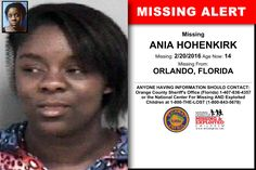 ANIA HOHENKIRK, Age Now: 14, Missing: 02/20/2016. Missing From ORLANDO, FL. ANYONE HAVING INFORMATION SHOULD CONTACT: Orange County Sheriff's Office (Florida) 1-407-836-4357.