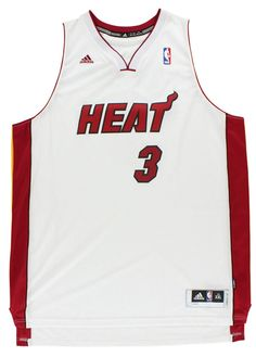 0419f74f9a9 Adidas Mens Miami Heat NBA Dwayne Wade Nickname Swingman Jersey White XL