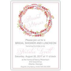 ddcbc0483900 Dainty Heart Wreath Bridal Shower Invites