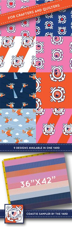 Coast Guard fabric sampler for crafters and quilters: 9 patterns available all in one yard!