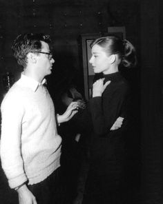 Audrey Hepburn and Richard Avedon, 1956, on the set of Funny Face