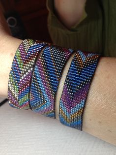 Loomed, but could be done in square stitch or peyote with a little effort...