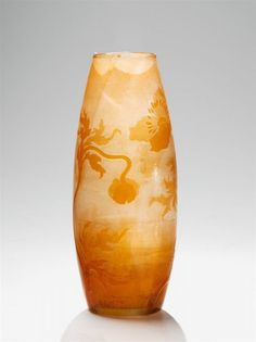 "Nancy, Cristallerie de Gallé, 1894 - 1900. A Gallé glass vase with ""Anémones"" decor. With cameo ""Gallé"" mark to the body. H 23.8 cm"