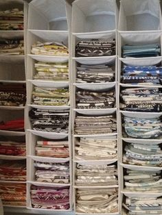 Ikea hanging shoe storage for organizing fabric memos. -bryn alexandra: Office Organization Project